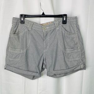 Levi's Gray and White Pinstriped Rolled Hem Shorts